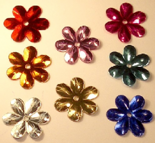 Bulk  Bag 1000 15mm Metallic Effect Flowers.  Mixed Colour Pack.